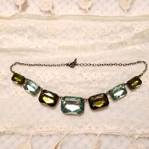 Vintage Green Statement Necklace Emerald Color